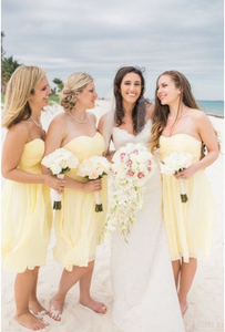 A Line Yellow Strapless Knee Length Chiffon Bridesmaid Dresses Best Evening Dresses