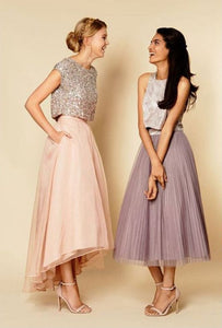 Pretty Pink Two Pieces Sleeveless High Low Organza Bridesmaid Dresses Evening Dresses