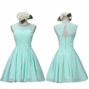 Cute Mint Green Sleeveless Cut Out Short Bridesmaid Dresses Chiffon Prom Dresses - NICEOO