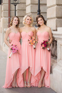 Pink High Low Strapless A Line Chiffon  Bridesmaid Dresses Cheap Prom Dresses - NICEOO