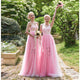 A Line Pink Two Styles Empire Waist Open Back Tulle Evening Dresses Best Prom Dresses - NICEOO