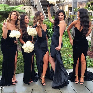 Sexy Black Strapless Side Split Slim Line Satin Bridesmaid Dresses Long Prom Dresses - NICEOO