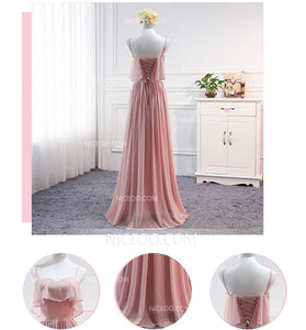 A Line Pink Four Styles Empire Waist Chiffon Bridesmaid Dresses Long Prom Dresses - NICEOO