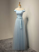 Blue A Line Off Shoulder Sweetheart Tulle Bridesmaid Dresses Long Prom Dresses - NICEOO