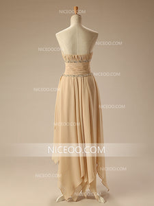 Elegant A Line High Low Strapless Empire Waist Chiffon Bridesmaid Dresses Prom Dresses - NICEOO