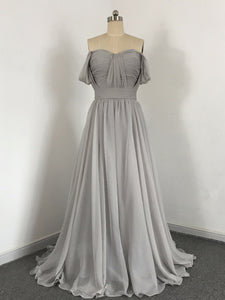 A Line Off Shoulder Open Back Chiffon Bridesmaid Dresses Long Prom Dresses - NICEOO