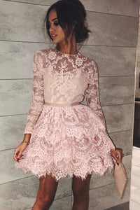 Pink Round Neck Long Sleeves Mini Homecoming Dresses Lace Cocktail Dresses - NICEOO