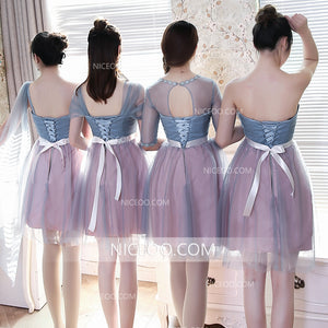 Cute Four Styles A Line Sweetheart Knee Length Tulle Bridesmaid Dresses Prom Dresses - NICEOO