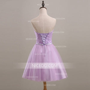 Cute Lilac A Line Sleeveless Knee Length Tulle Evening Dresses Cheap Prom Dresses With Bowknot - NICEOO