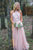 Pink A Line Halter Open Back Tulle Bridesmaid Dresses Affordable Prom Dresses - NICEOO