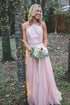 Pink A Line Halter Open Back Tulle Bridesmaid Dresses Affordable Prom Dresses