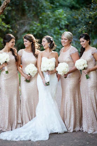Rose Gold Round Neck Cap Sleeves Slim Line Sequin Bridesmaid Dresses Plus Size Prom Dresses - NICEOO