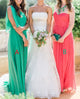 Elegant Two Styles A Line Empire Waist Long Bridesmaid Dresses Chiffon Prom Dresses