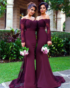 Burgundy Off Shoulder Long Sleeves Mermaid Satin Bridesmaid Dresses Prom Dresses - NICEOO