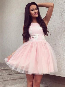 Pink Sleeveless Tulle Homecoming Dresses,Round Neck Prom Dress With Appliques - NICEOO