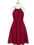 Burgundy Halter Cut Out Knee Length Bridesmaid Dresses Best Prom Dresses