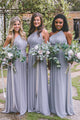 Blue A Line One Shoulder Long Chiffon Bridesmaid Dresses - NICEOO