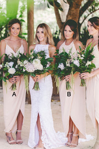 White Spaghetti Strap Slim Line Chiffon Bridesmaid Dresses