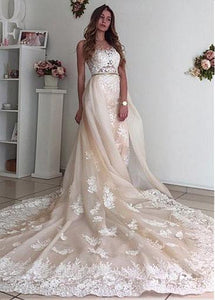 Ivory Sweetheart Open Back Lace Cathedral Train Wedding Dresses With Appliques