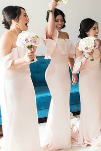 Pink Slim Line Off Shoulder Floor Length Bridesmaid Dresses