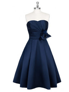 Navy Blue A Line Sweetheart Sleeveless Short Bridesmaid Dresses Satin Prom Dresses - NICEOO