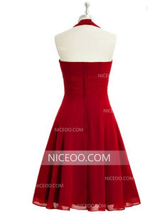 Halter Red A Line Empire Waist Knee Length Chiffon Cocktail Dresses Prom Dresses