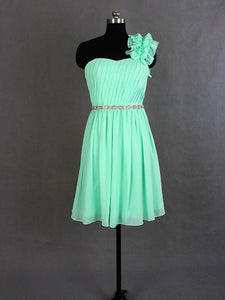 Short Mint Green One Shoulder Sweetheart Chiffon Bridesmaid Dresses Cheap Prom Dresses