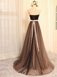 Elegant A Line Empire Waist Sweetheart Tulle Evening  Dresses Best Prom Dresses - NICEOO
