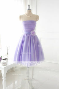 Cute Lilac A Line Sleeveless Knee Length Tulle Evening Dresses Cheap Prom Dresses - NICEOO