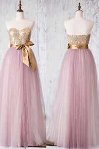 A Line Sweetheart Pink Long Homecoming Dresses Best Prom Dresses With Bowknot - NICEOO