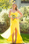 Yellow Sweetheart Sleeveless Front Split Chiffon Bridesmaid Dresses Prom Dresses - NICEOO