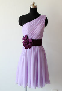 Lavender One Shoulder A Line Knee Length Bridesmaid Dresses Best Prom Dresses - NICEOO