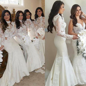 White Round Neck Long Sleeves Mermaid Lace Bridesmaid Dresses Best Prom Dresses
