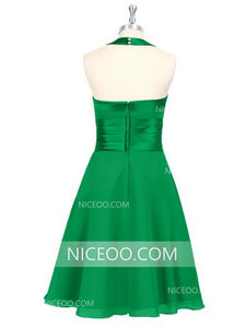 Halter Green Sweetheart Open Back Short Bridesmaid Dresses Chiffon Prom Dresses