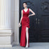 Burgundy V Neck Sleeveless Side Slit Prom Dresses Long Evening Dress