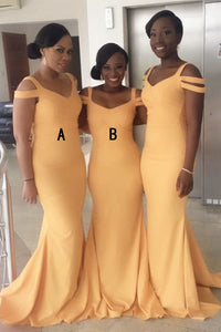 Off Shoulder V Neck Slim Line Satin Bridesmaid Dresses Plus Size Prom Dresses - NICEOO