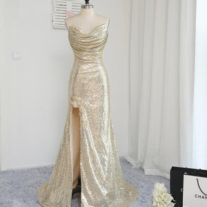 Gold Sequin Sweetheart Side Split Slim Line Evening Dresses Prom Dresses