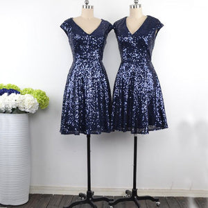 Sexy Navy Blue V Neck A Line Sequin Bridesmaid Dresses Short Evening Dresses