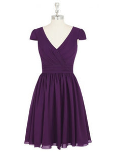 Purple Simple A Line V Neck Empire Waist Chiffon Bridesmaid Dresses Short Prom Dresses - NICEOO