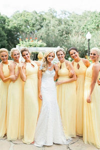Yellow Halter Cut Out Plus Size Long Chiffon Bridesmaid Dresses