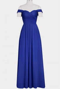 Blue A Line Off Shoulder Sweetheart Chiffon Bridesmaid Dresses Prom Dresses - NICEOO
