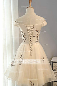 Short Off Shoulder A Line Homecoming Dresses Prom Dresses With Appliques