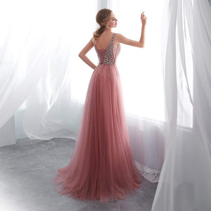 Dreamy A Line Deep V Neck Prom Dresses,Side Split Tulle Evening Dresses With Beading - NICEOO
