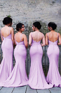Sexy Lilac Sweetheart Spaghetti Strap Open Back Satin Best Bridesmaid Dresses Long Evening Dresses