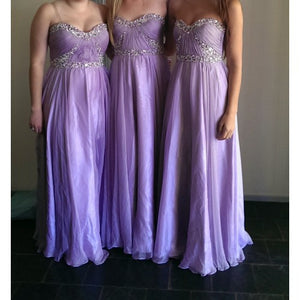 Lilac A Line Sweetheart Empire Waist Chiffon Bridesmaid Dresses Evening Dresses With Beadings - NICEOO