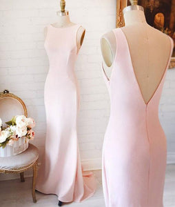 Blush Pink Slim Line Sleeveles Open Back Satin Bridesmaid Dresses Long Prom Dresses - NICEOO