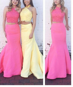 Simple Two Pieces Halter Open Back Mermaid Homecoming Dresses Satin Prom Dresses