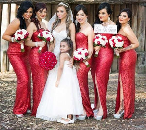 Sexy Red Slim Line Strapless Side Split Sequin Bridesmaid Dresses