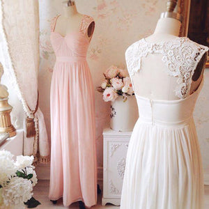 Elegant Pink A Line Strap Open Back Sweetheart Chiffon Bridesmaid Dresses Evening Dresses - NICEOO