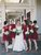 Elegant Red Slim Line Round Neck Mini Lace Bridesmaid Dresses Evening Dresses